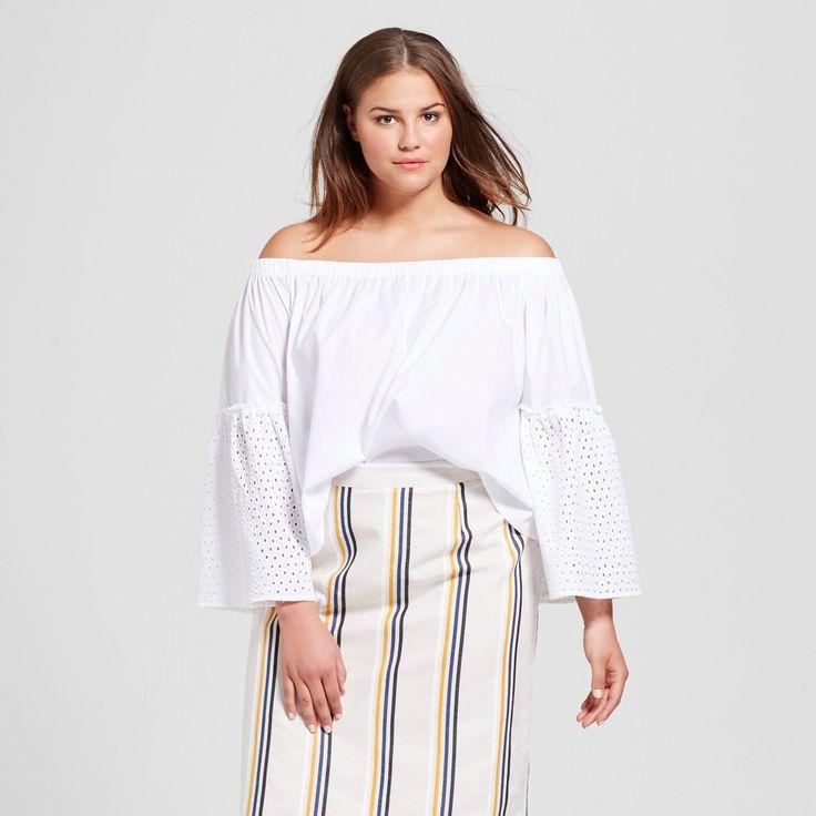 Who What Wear, Women's Plus Size Bardot Bell Sleeve Top  White 3X