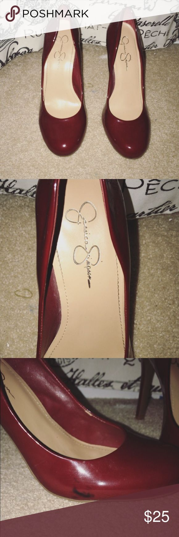 Red Jessica Simpson Heels Little scuff mark on one shoe Other than that very good condition  Only worn once Jessica Simpson Shoes Heels