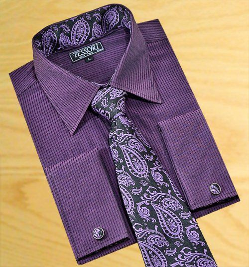 Tessori Plum With Dark Purple Wavy Pinstripe Dress Shirt