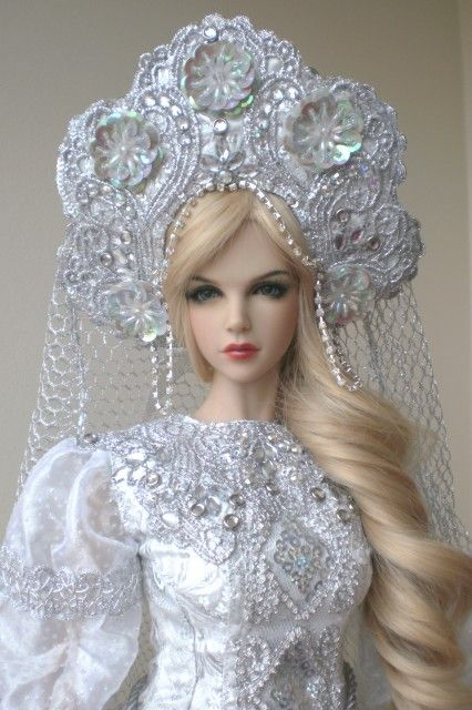 Russian princess. Doll in traditional kokoshnik headdress.