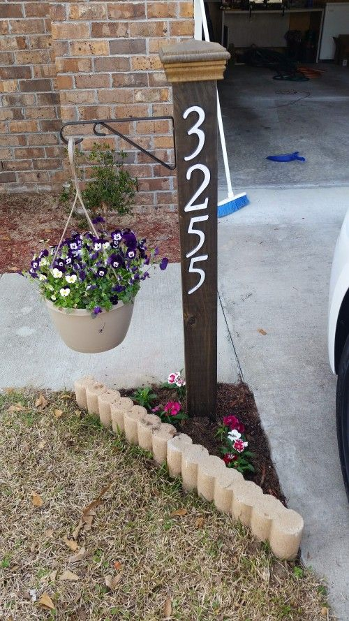 Address Numbers Post Planter