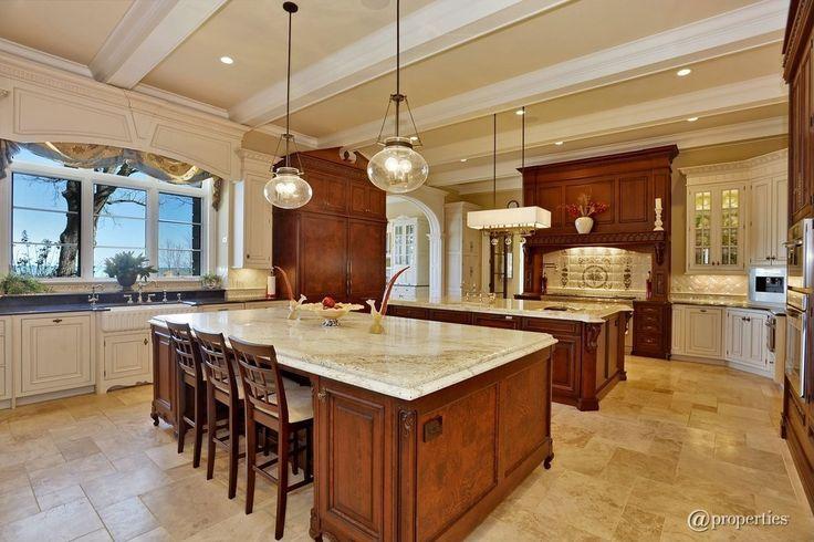 Traditional Kitchen with Custom hood, Large Ceramic Tile, Exposed beam, Kitchen island, Glass panel, Farmhouse sink, U-shaped