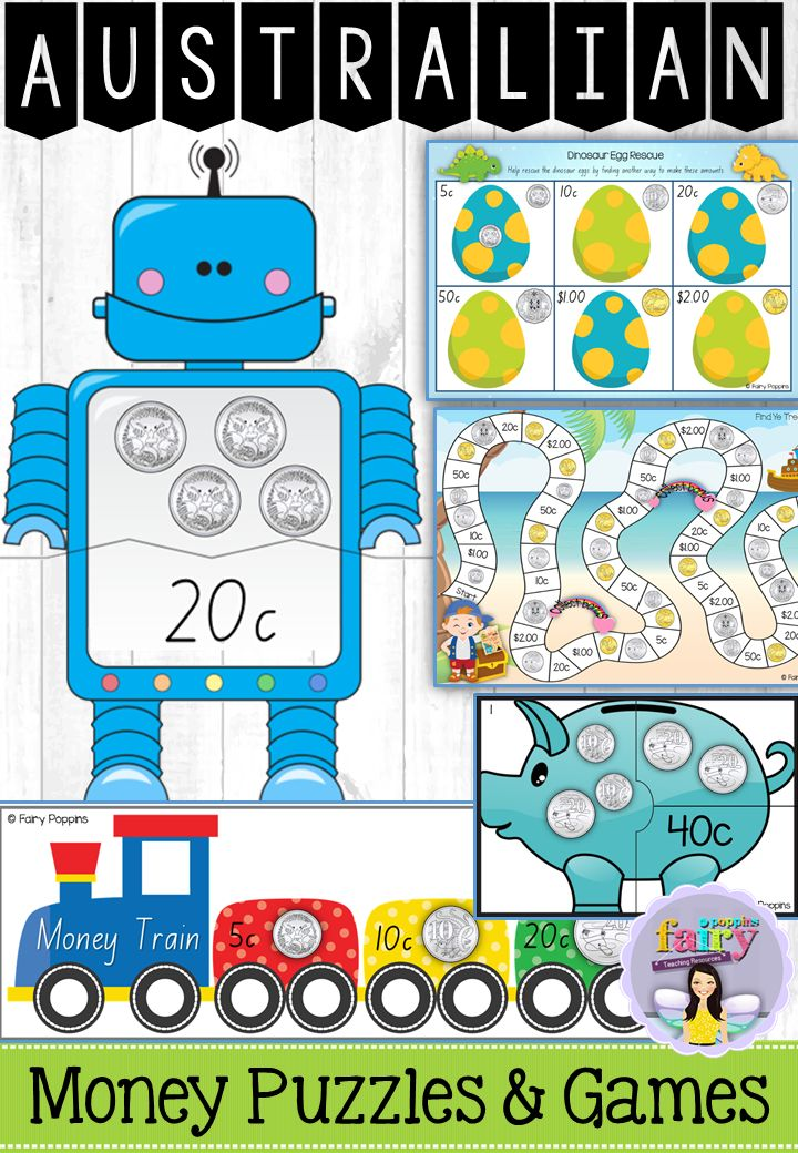Fun Australian money puzzles and games! Focuses on identifying, ordering and counting small collections of coins and notes. Great for Year 1 and Year 2.
