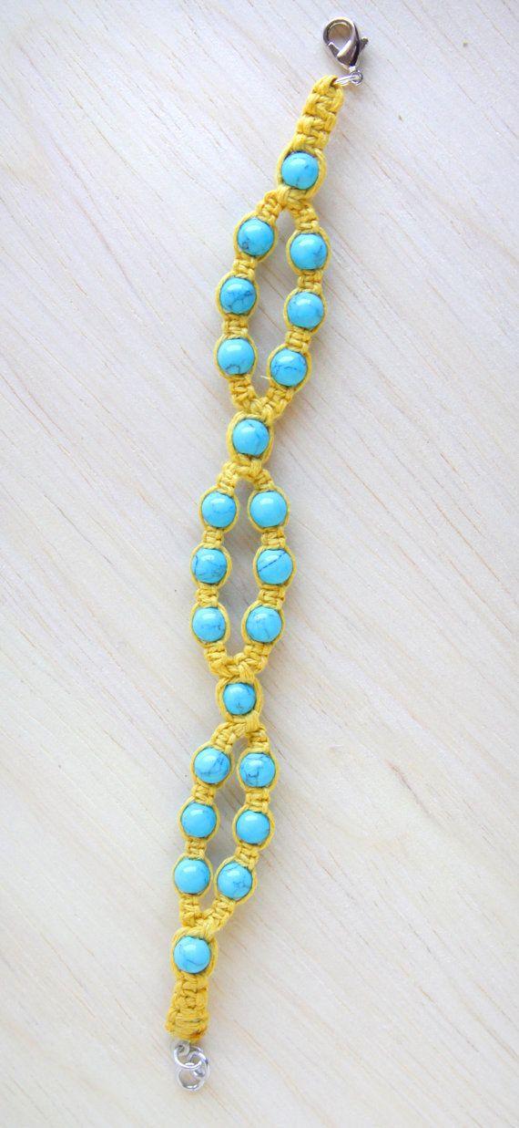 Hemp Bracelet Yellow Hemp Jewelry with by WingoWorks on Etsy