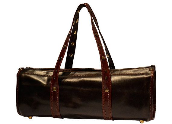 Two Tone Brown Handbag Genuine Leather Handmade. by Despeguestore, 100% Made in Italy