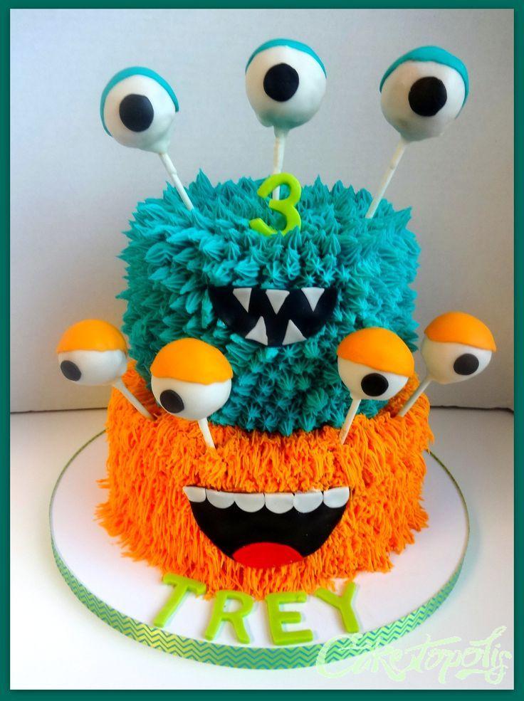 Monster Birthday Cake - Buttercream monster cake with cake balls for the eyes.