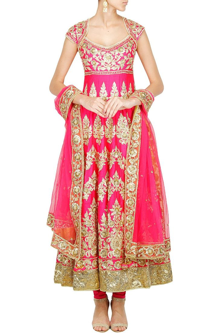 Pink colour anarkali in silk