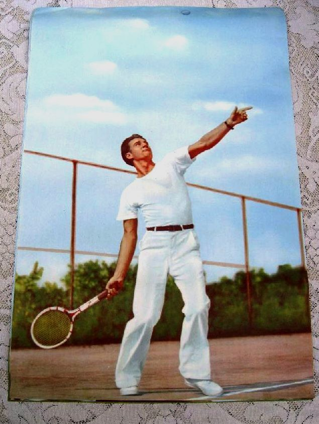 Vintage 1950's Tennis Photo Poster Men's Sport Fashion from Clothing Store - Print Ready To Frame Handsome Man by trustyboomer on Etsy