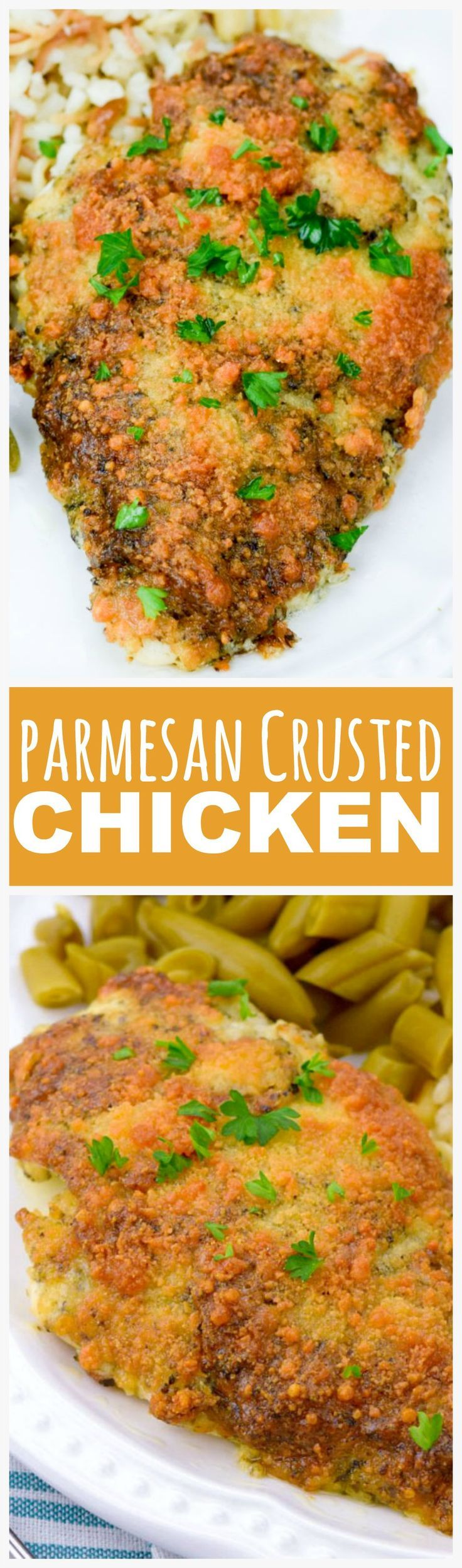 Parmesan Crusted Chicken-Ready in 20 minutes and only takes 4 ingredients! Really  yummy, moist and tender! Best quick dinner and its kid friendly.