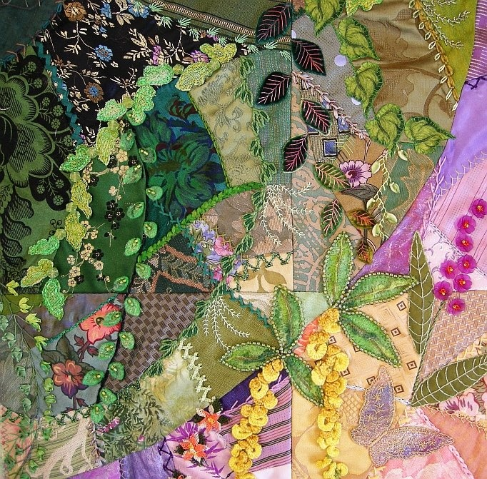 I ❤ crazy quilting & ribbon embroidery . . . Spring CQ...Corner Arcs Finished ~By Allie's in Stitches