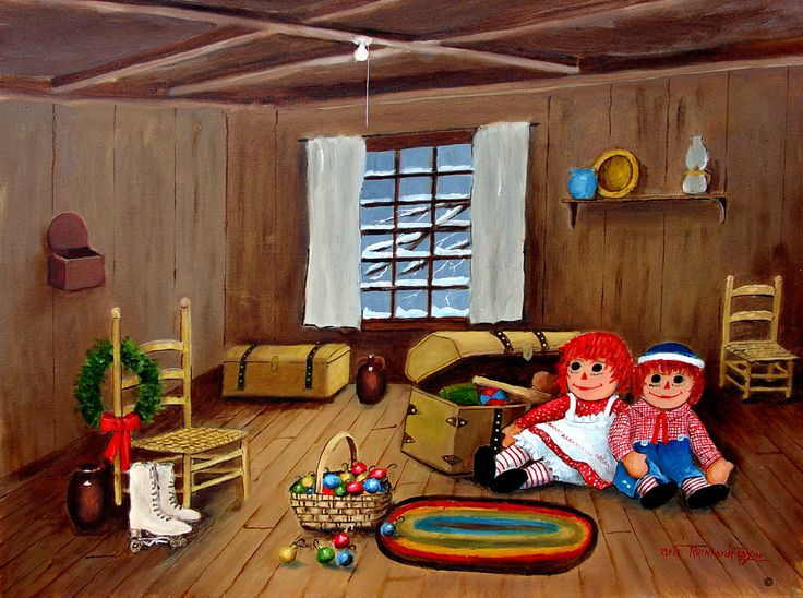 Folk Art Original Painting Art Print Raggedy Ann Andy Attic Ice Skates Old Trunk by Arie Taylor by jagartist on Etsy