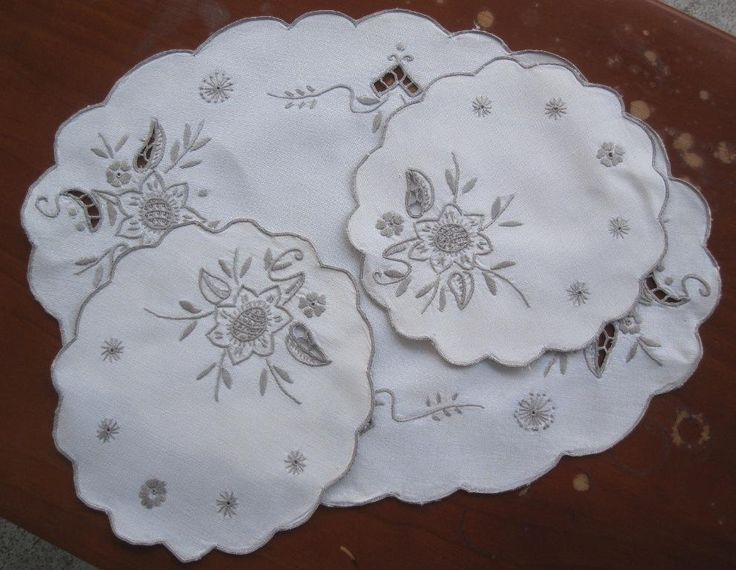 Three Piece Duchess Set Hand Embroidered Italian Design SELLER ID: Kathy_a1