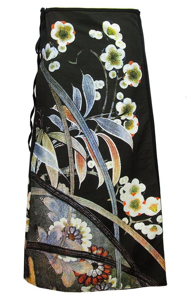 Asian Traditional Fine Art Print Wrap Skirt, Flowers Sw038