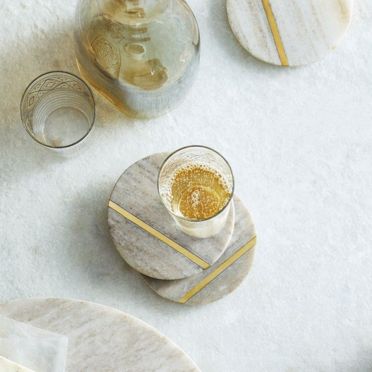 Penrose Marble and Brass Coasters