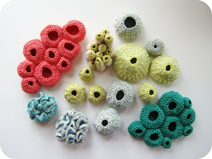 Free Form Crochet Sculptures … looks more like underwater coral to me!  Lovely. Hand crafted by Cornflower Blue Studio.  Rachel also h...