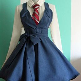 Darling Tennant Suiting Cosplay Jumper Pinafore - Blue Weave $125.00