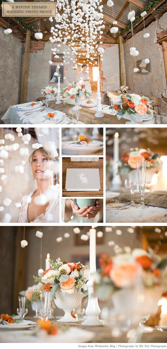 is it marshmallows or foam peanuts??: White Tables Colors Flowers, Photography I Love Wedding, Orange Winter Wedding, Fair Photography, Parties Ideas, Parties Tables, Elie Fair, Comforter Winter Wedding, Fair Aodai
