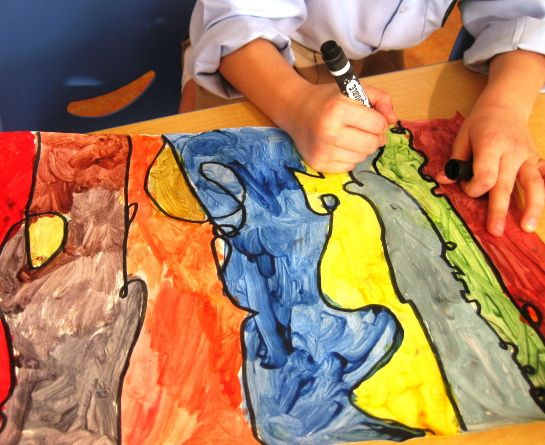 A great way to explore moods and textures of different lines, and a fun way to work with color.  I love how easily this adapts to different ages of children.