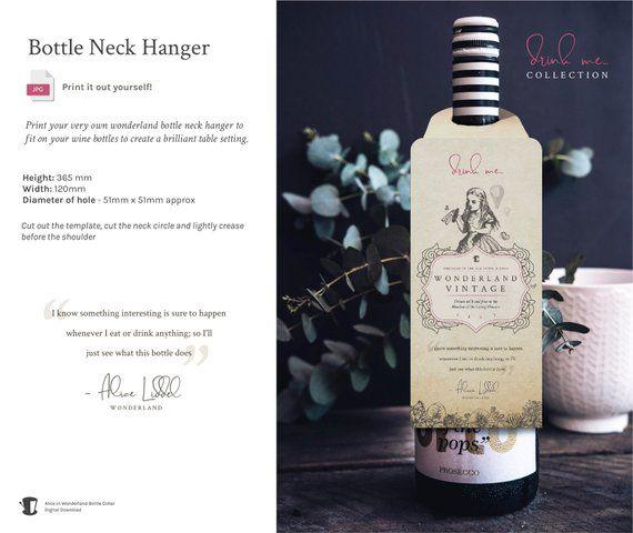 Alice in Wonderland Wine Bottle Neck Hanger  A vintage