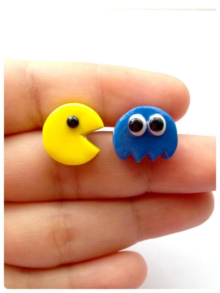 Super Cute Pacman Post Earrings