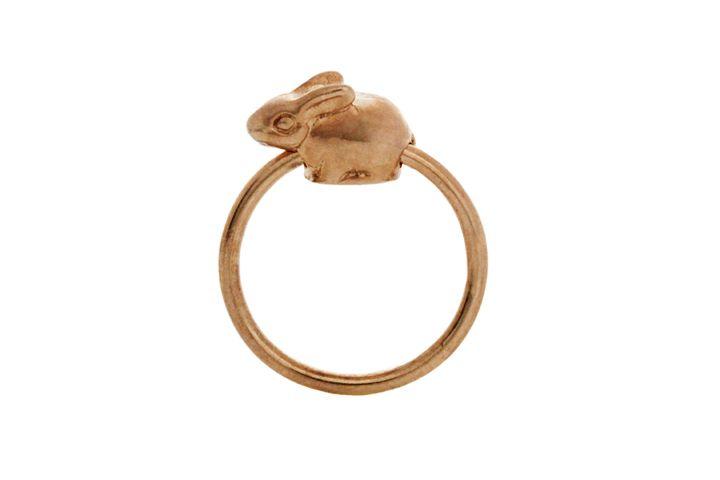 Silver Rose gold gilded Riverine Rabbit slider ring