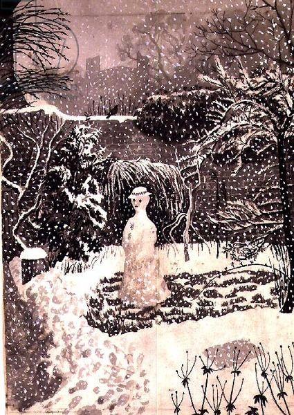 """""""Snow-woman"""" by Tirzah Ravilious (watercolour)"""