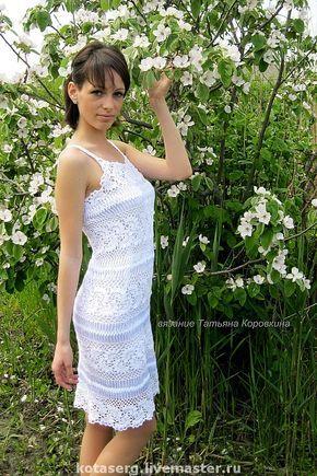 """Купить Платье """"Жемчужина"""" - вязание, ручное вязание, Вязание крючком, Вязание на вилке, ленточное кружево"""