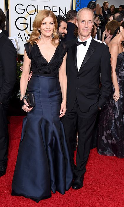 Rene Russo and Dan Gilroy  Rene and her screenwriter/director husband have been together for more than 20 years, though their red-carpet look was anything but staid. Rene looked sexy in a deep-blue satin skirt and ruched black chiffon top, while her husband kept it classic in a black tuxedo. Photo: © Getty Images