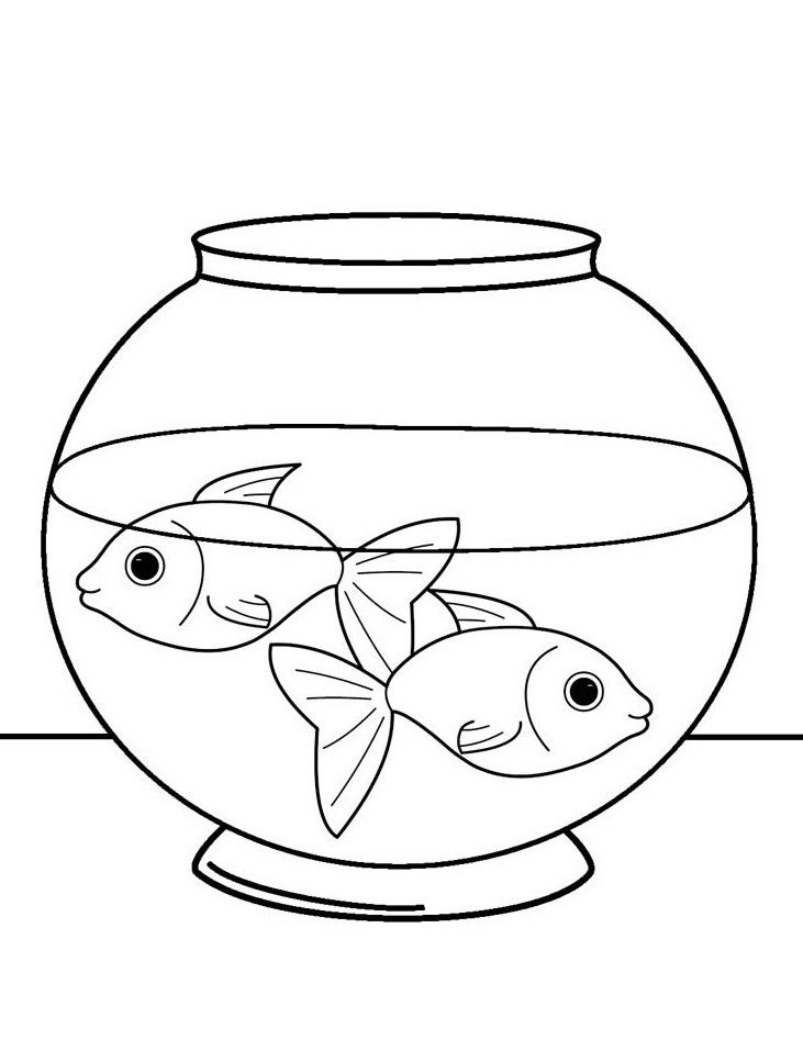 Fish Bowl Coloring Page Printable Two Fish In A Tank Coloring Page For Both Aldults Of Fish Bowl Coloring P Fish Coloring Page Coloring Pages Fish Tank Drawing