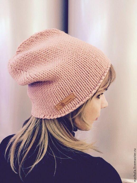Купить распродажа! Шапка вязаная - бледно-розовый, однотонный, шапка, шапка вязаная, меринос