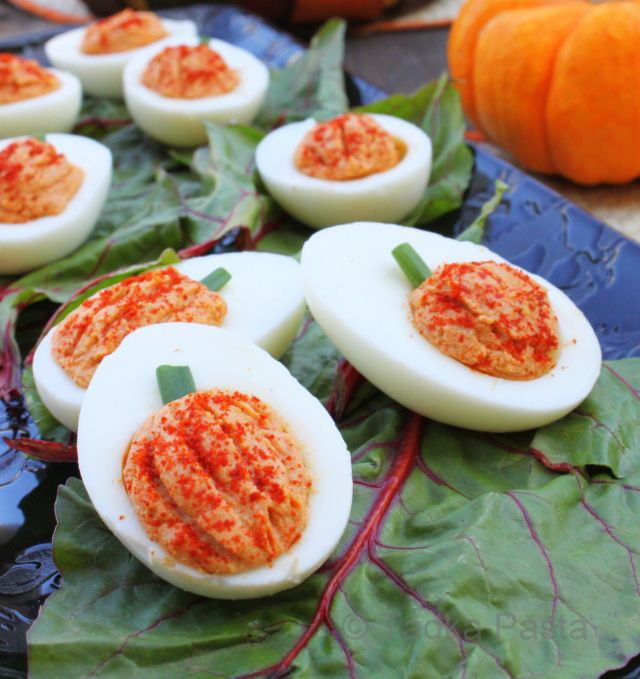 Pumpkin Deviled Eggs! Clever!