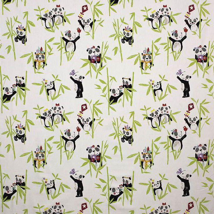 Warwick Fabrics : PANDA, Colour APPLE