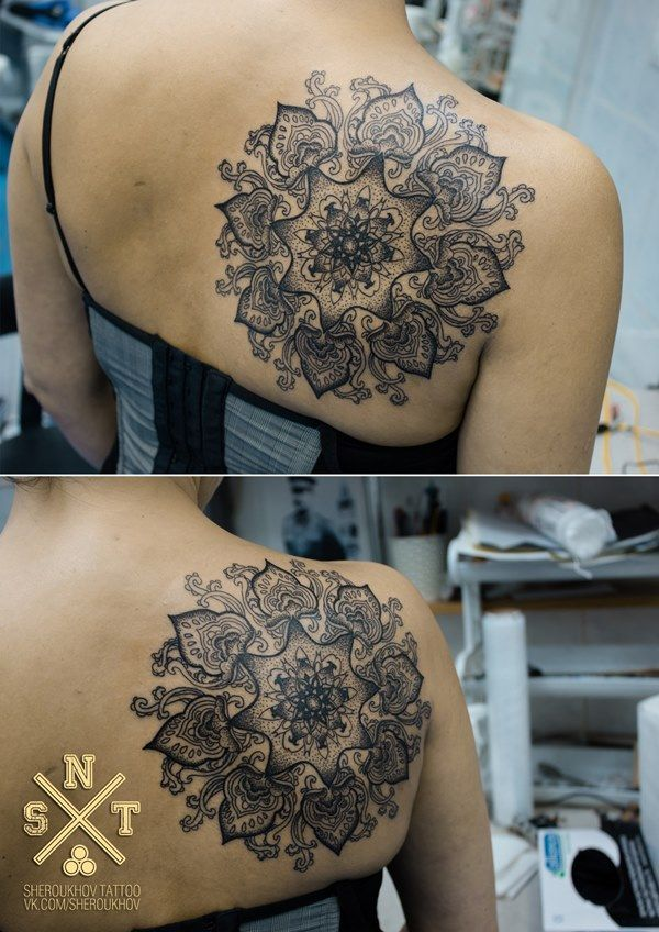 Татуировка с изображением мандалы, эскиз разработан индивидуально
