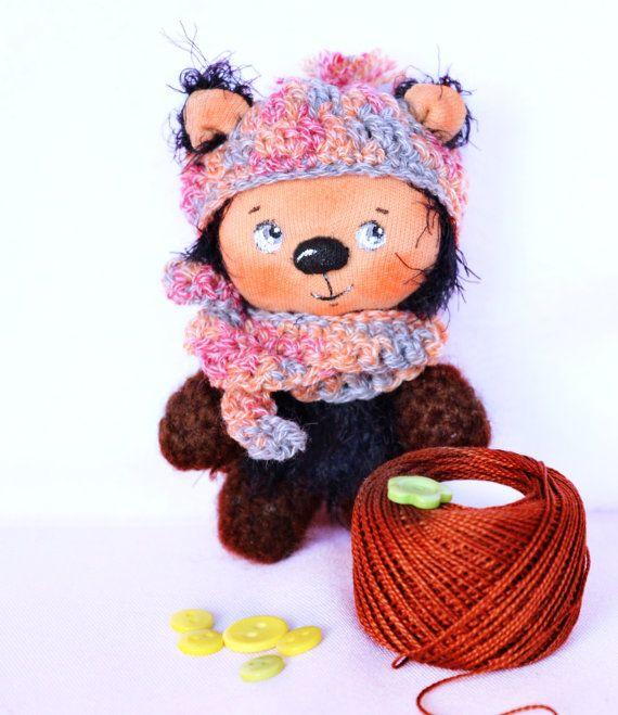 Miniature teddy bear crocheted miniature by Fairybugcreativetoys