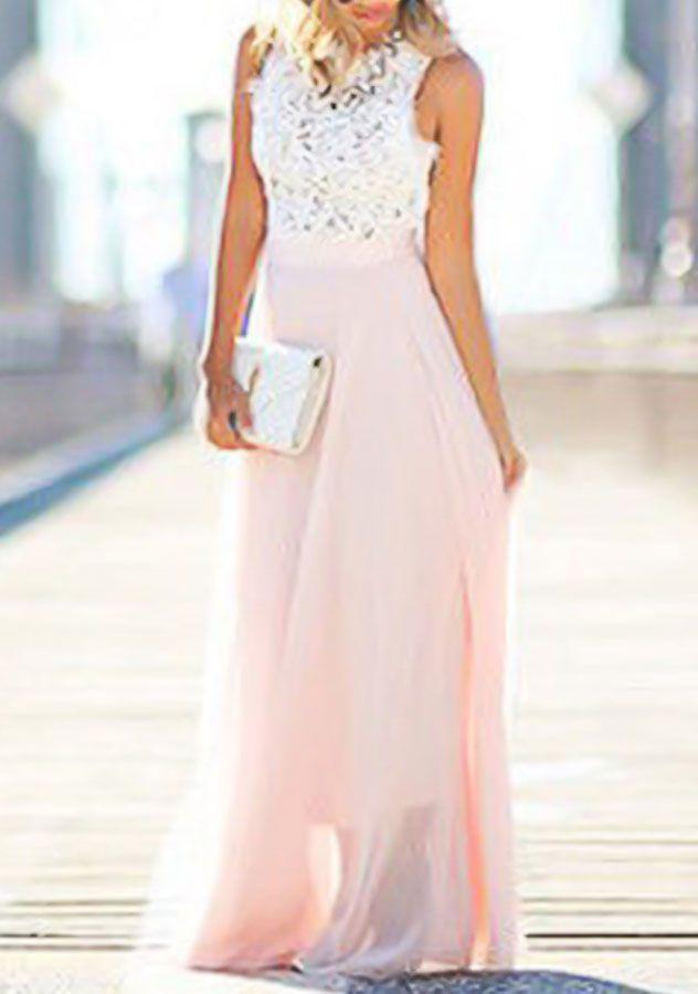 Sleeveless Lace Chiffon Maxi Dress | Womens Maxi Dresses Cheap