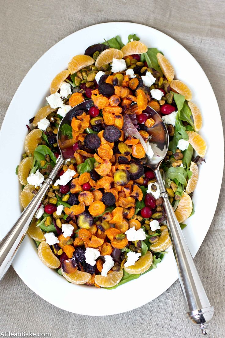 Roasted Rainbow Carrot Salad with Cranberries, Pistachios and Honey Mustard Vinaigrette