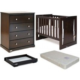 Grotime Rollover Package Includes 5 in 1 Cot, Spartan Chest, Crest Changer & M760S Innerspring Mattress - Walnut