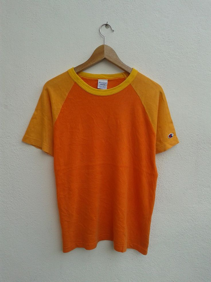 Vintage 90s Champion Sportswear Basic Raglan Color Block Neon Monogram Logo T-Shirt Size M by BubaGumpBudu on Etsy