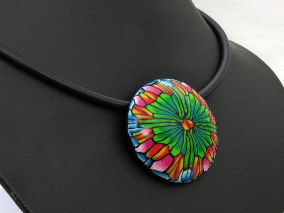 handmade necklace Statement Kette  Hundertwasser aus von polymerdesign auf Etsy