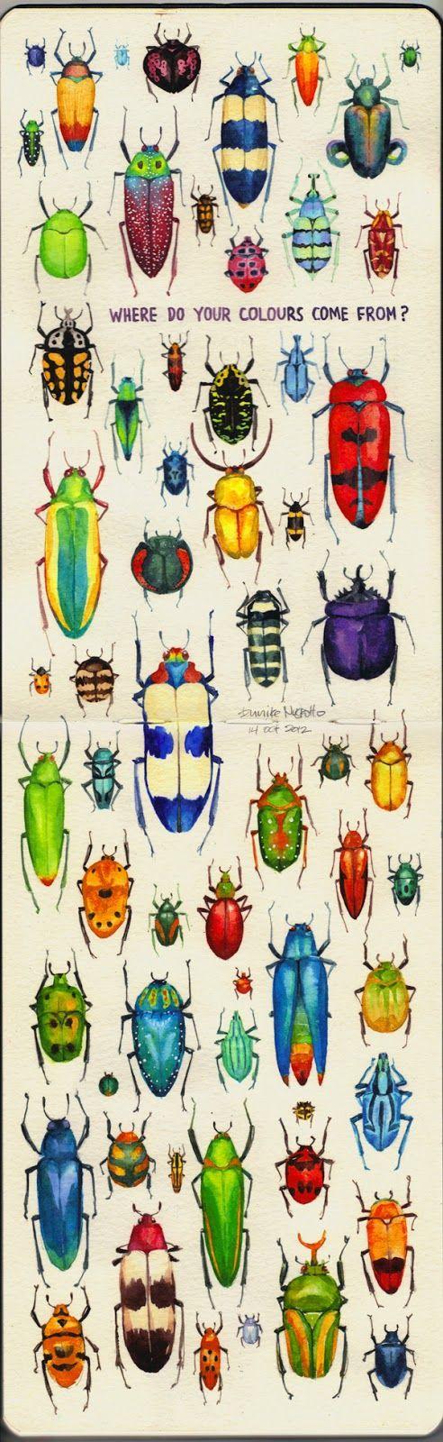 Eunike Nugroho: Colours of Beetles. Colorful idea for painting bugs on rocks. http://eunikenugroho.blogspot.co.uk/2012/10/yesterday-i-stumbled-upon-amazing.html