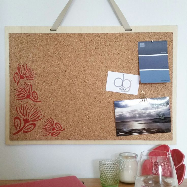 Pohutukawa flower pinboard, available now.