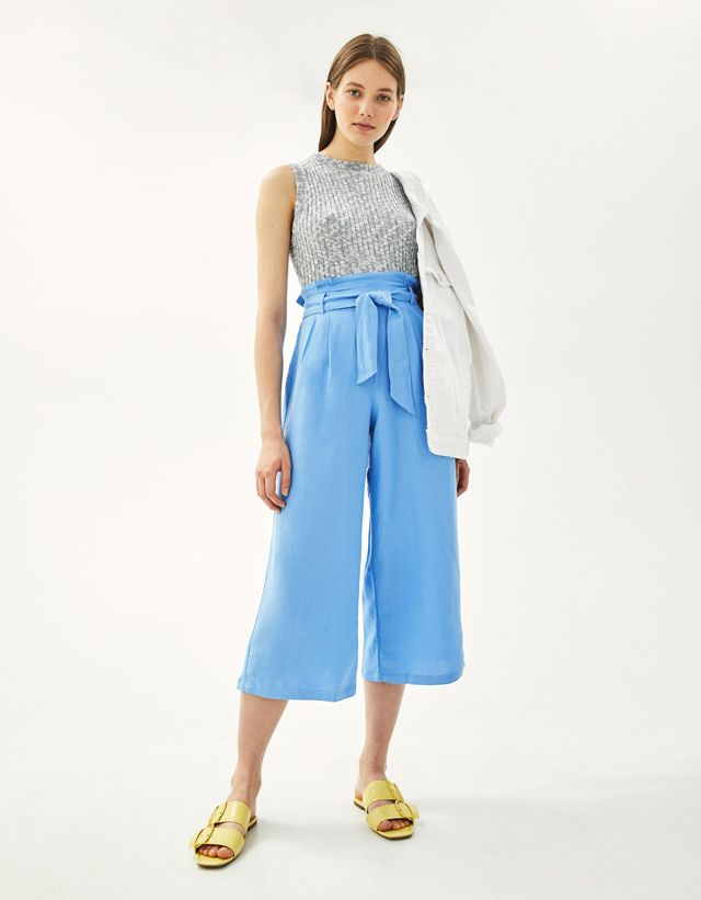 a61c16034b Linen paperbag culottes - Bershka #fashion #product #new #newin #trend  #trendy #yellow #blue #rustic #summer #spring #cool #girl #young #outfit  #inspiration ...