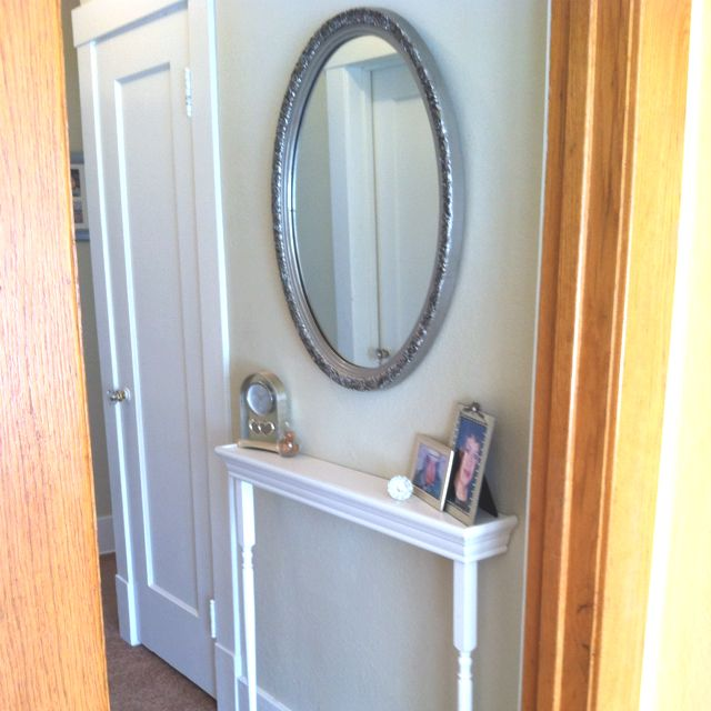 Mirror table shelf for narrow hallway for the home for Hallway mirror and shelf