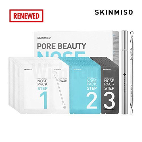 [SET] SKINMISO Blackhead & Pore Beauty Nose Mask Pack 3 Step System (10 Weeks Program) + Comedo Blackhead Remover.