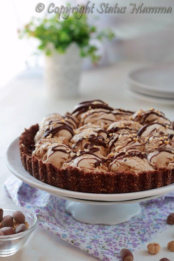 Crostata gelato ricetta senza cottura dolce con biscotti facile veloce nutella nocciole fredda ice cream cheesecake tutorial video Statusmamma gialloblogs