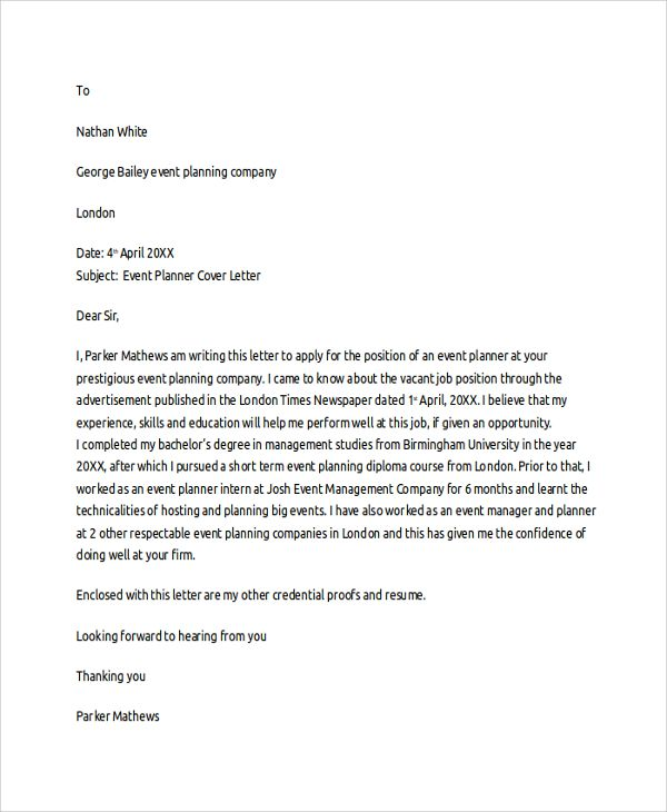 Marketing Event Coordinator Cover Letter. Marketing Cover Letter Example Is  A Sample Letter For A