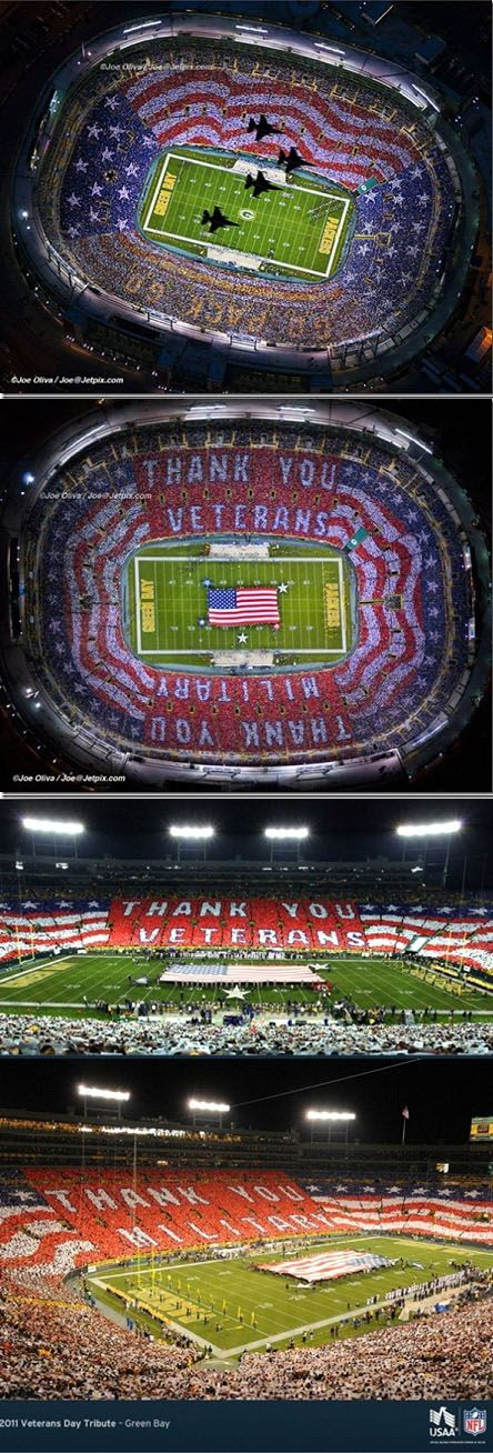 ESPN BLEW IT! - LAMBEAU FIELD NFL GREEN BAY GAME 9-17-12 - THEY FAILED TO SHOW AIR FORCE FLYBY AND HUGE AMERICAN FLAG CREATED FANS!