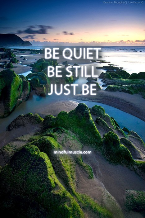 BE QUIET. BE STILL. JUST BE.  If you click on this picture, it will not lead to the source of this picture. But I really wanted the picture and the quote.