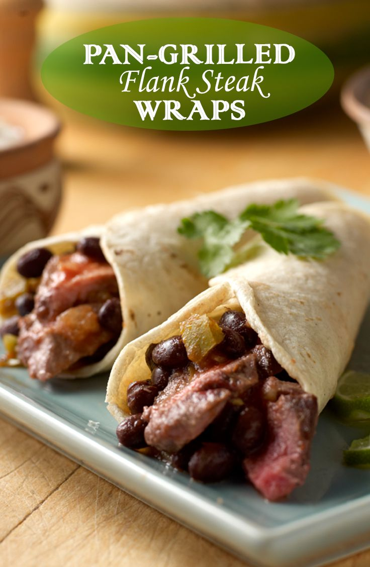 Pan-Grilled Flank Steak Wraps Recipe - Here's a delicious dish that ...