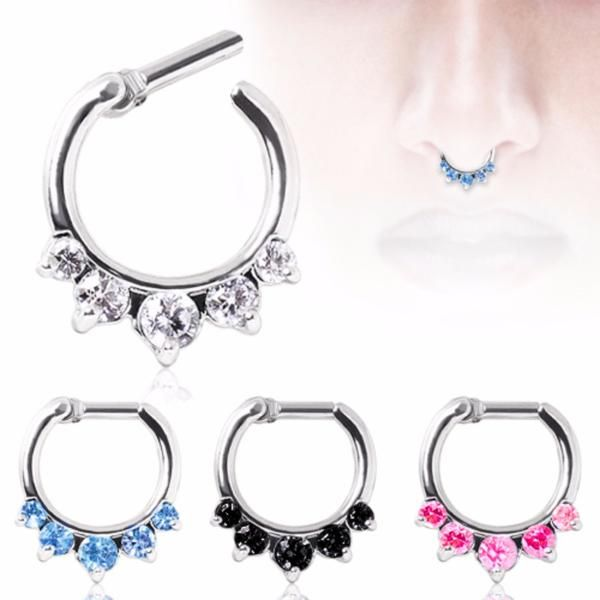 """316L Surgical Steel Gemmed Princess Septum Clicker This Gemmed Princess Septum Clicker features a comfortable and smooth 316L Surgical Steel bar in 14GA or 16GA that clicks into place. This """"Princess"""" style is designed on plated copper metal and flaunts prong set faceted centered CZ gems, a large 4mm gem is hugged on both sides by smaller 3mm gems. This sparkly tiara style is a beautiful piece of body jewelry. Available in 4 Colors: Aqua, Clear, Pink, and Black. Thickness : 14GA / 1.6mm ..."""